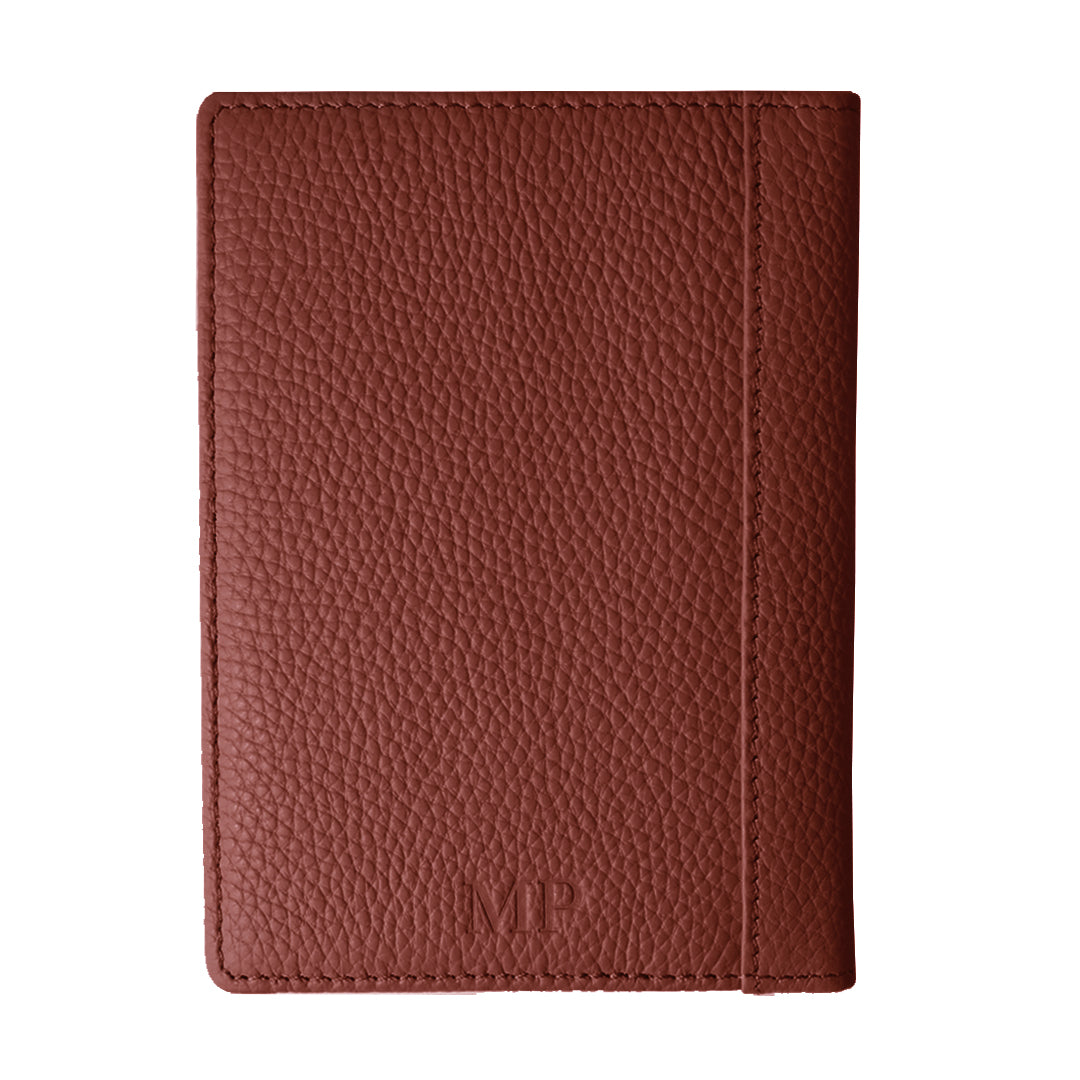 Mon Purse Pebbled Luxe Passport Holder in Red Ochre