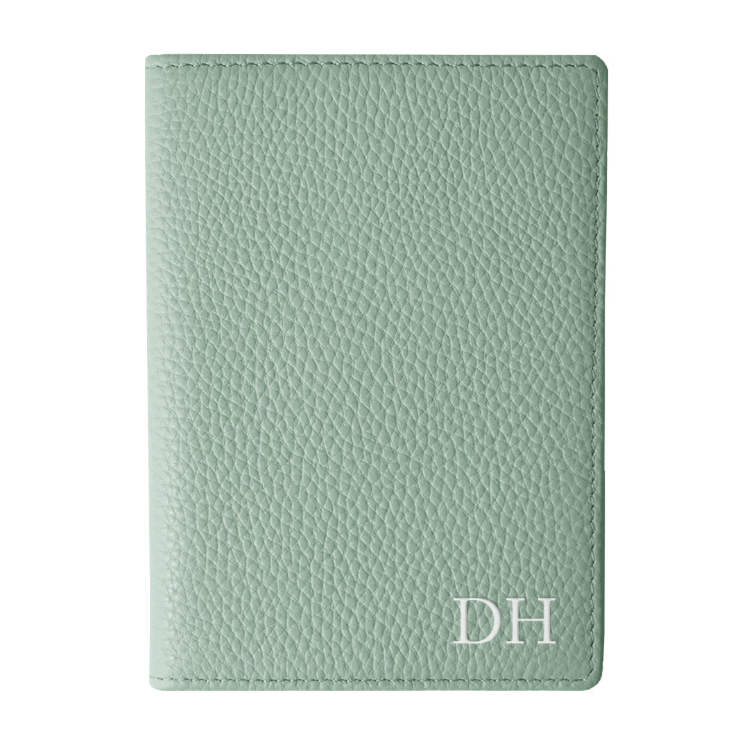 Mon Purse Pebbled Luxe Passport Holder in Sage Green