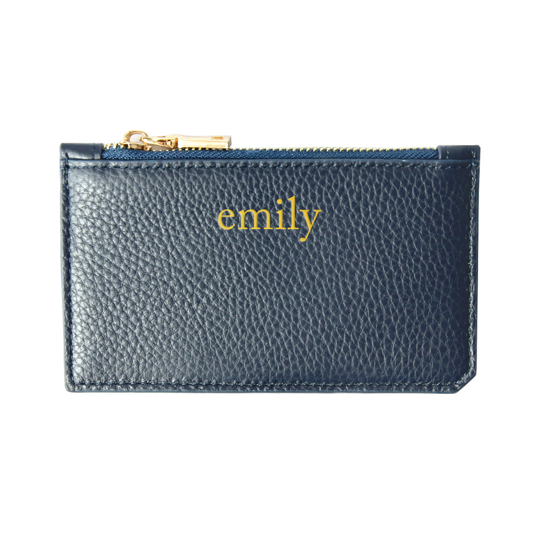 Mon Purse Pebbled Maxi Card Holder in Navy (Gold)