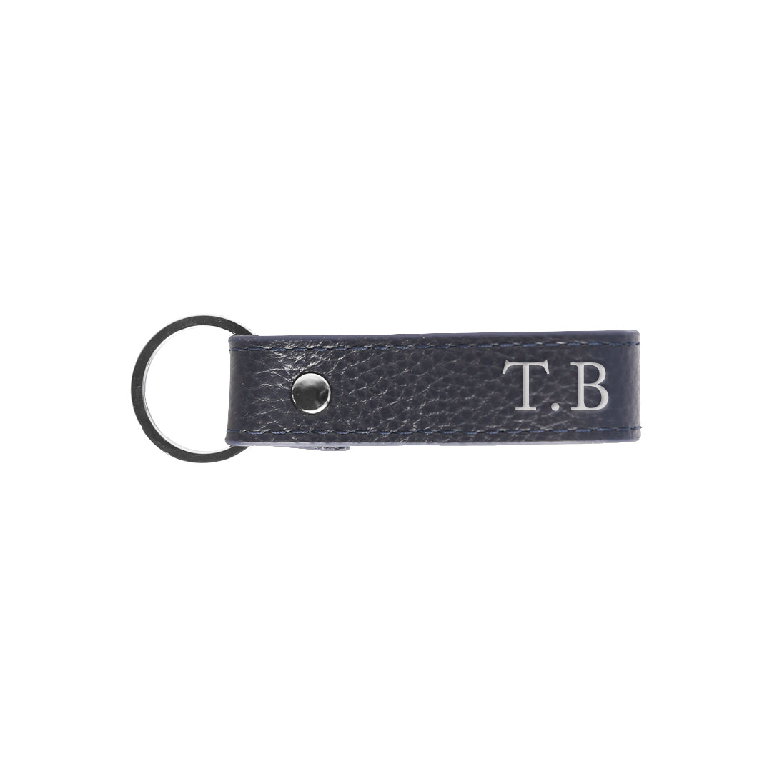 Pebbled Mens Keyring in Navy (Silver)
