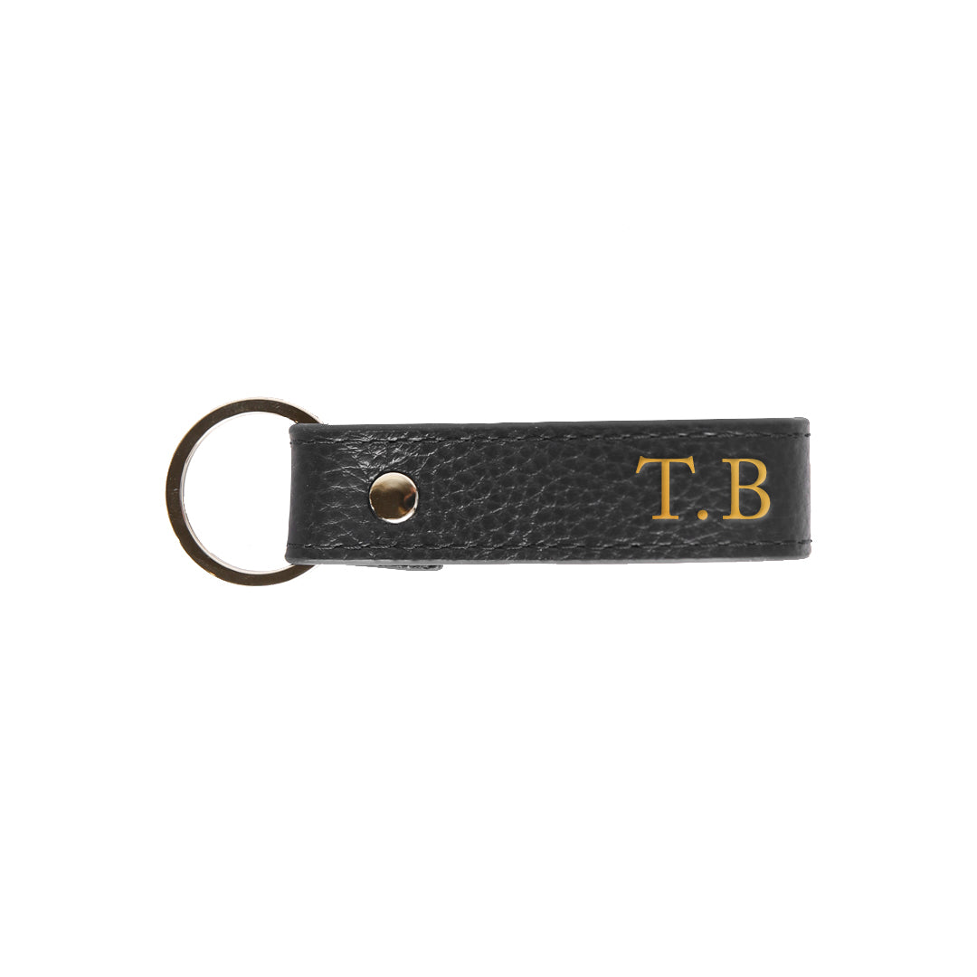 Pebbled Mens Keyring in Black (Gold)