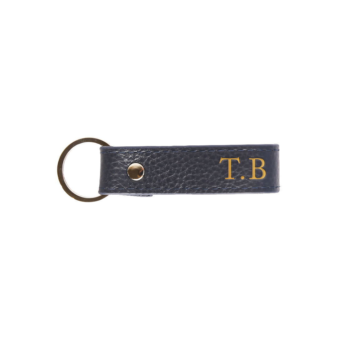 Pebbled Mens Keyring in Navy (Gold)