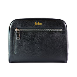 Mon Purse Mens Wash Bag in Black (Silver)