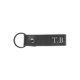 Pebbled Mens Keyring in Black (Silver)
