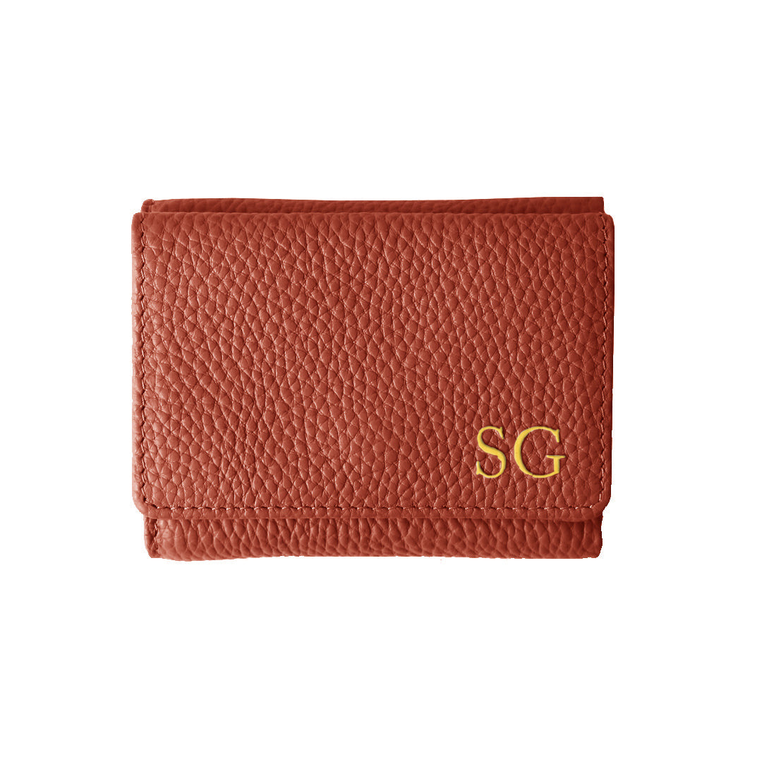 Mon Purse Mini Fold Wallet in Red Ochre