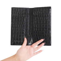 Mock Croc Folded Wallet in Black