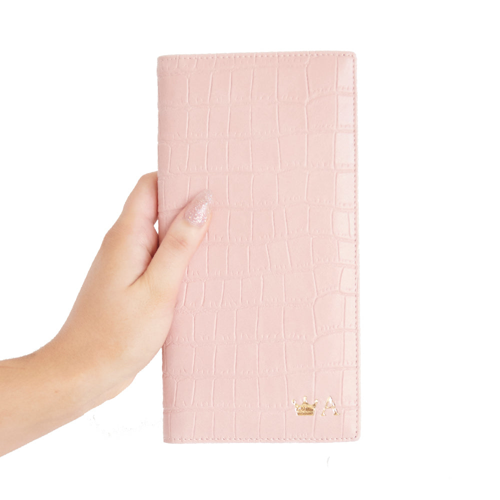 Mock Croc Folded Wallet in Pink