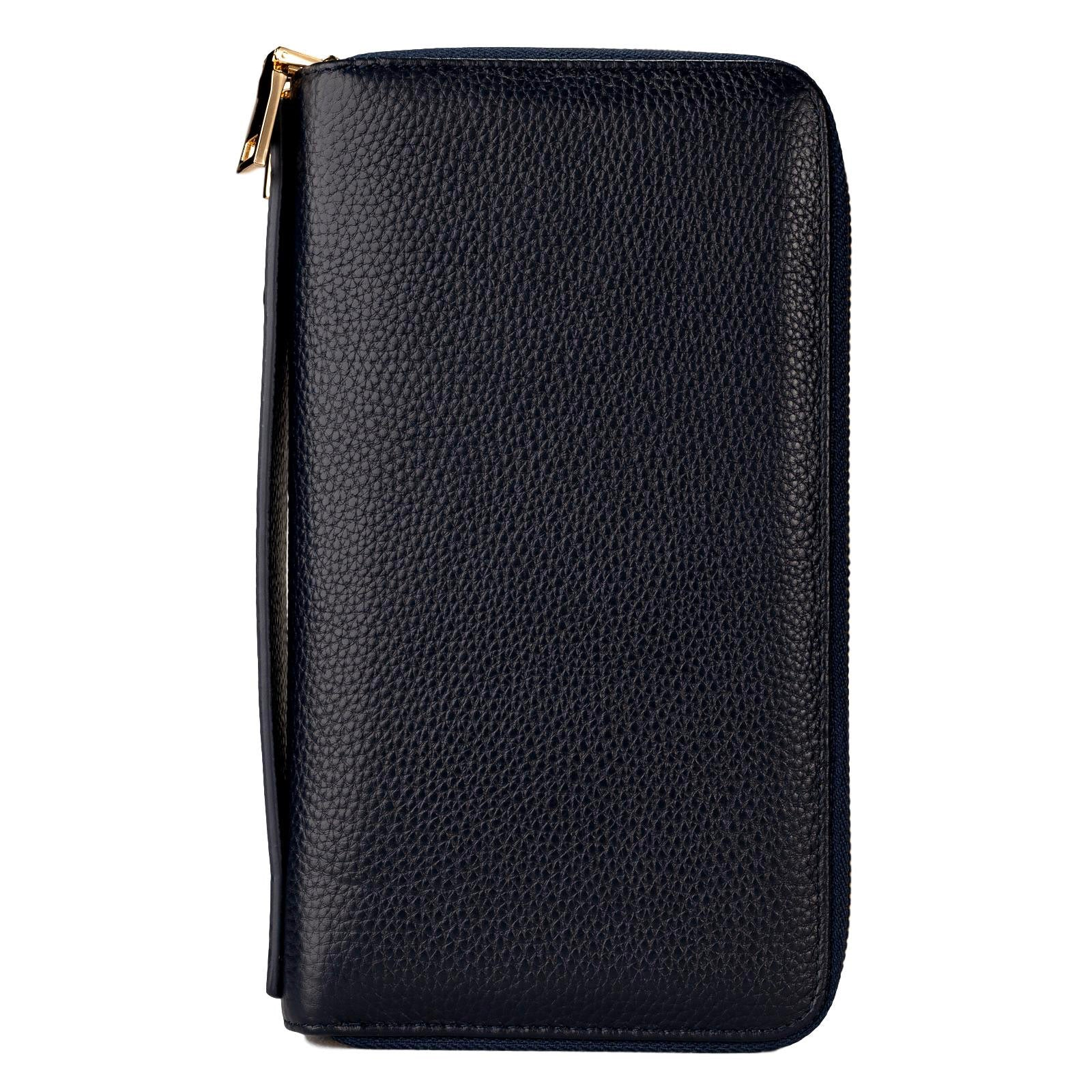Mon Purse Pebbled Double Zip Travel Wallet in Navy
