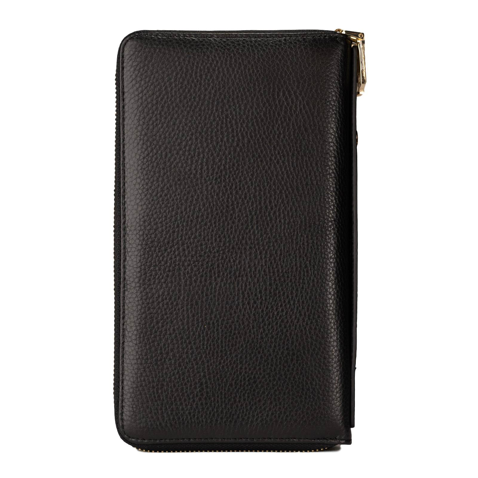 Mon Purse Pebbled Double Zip Travel Wallet in Black