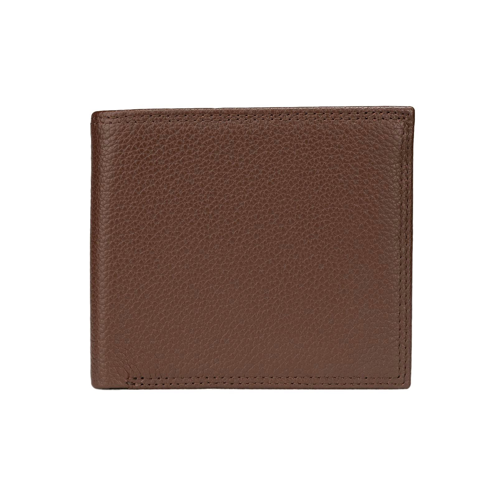 Mon Purse Pebbled Mens Bifold Wallet in Dark Brown