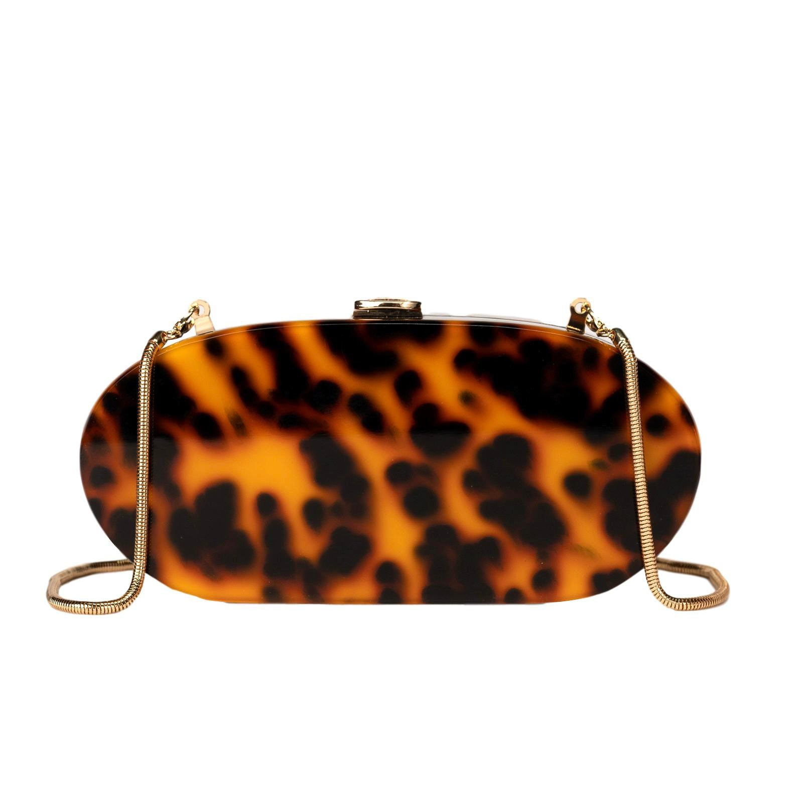 Mon Purse Mali Acrylic Clutch in Tortoise Shell