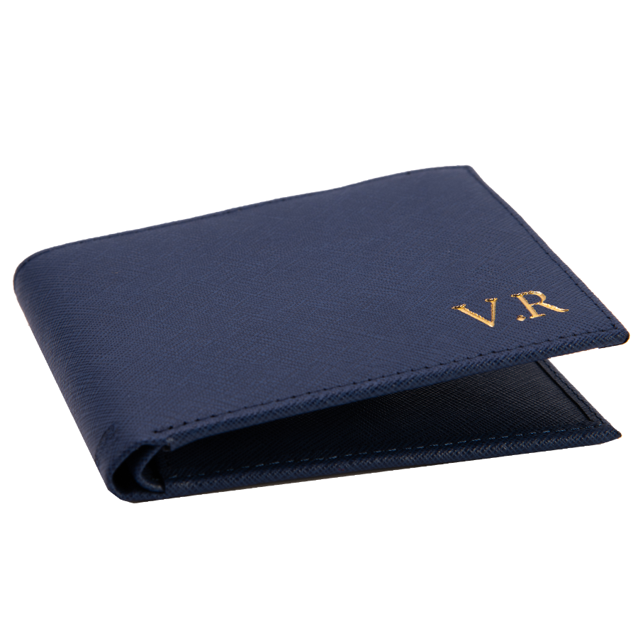 Men's Wallet in Navy Saffiano Leather