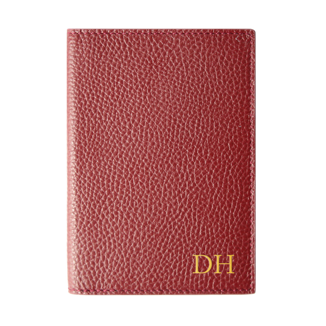 Mon Purse Pebbled Passport Holder in Burgundy
