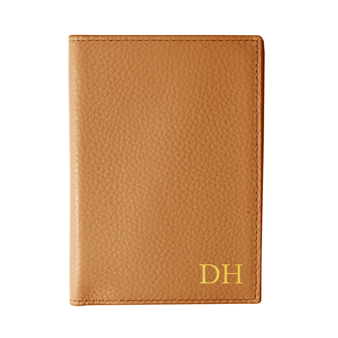 Mon Purse Pebbled Passport Holder in Tan