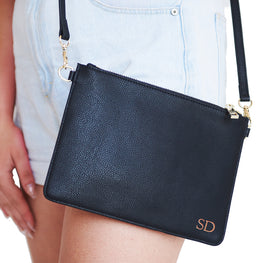 Pebbled Black Pouch with Long Strap