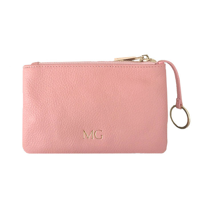 Coin Pouch in Pebbled Leather in Pale Pink - OLIVIA&CO.