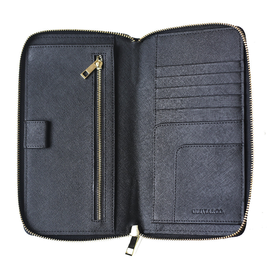 Travel Wallet in Black Saffiano Leather