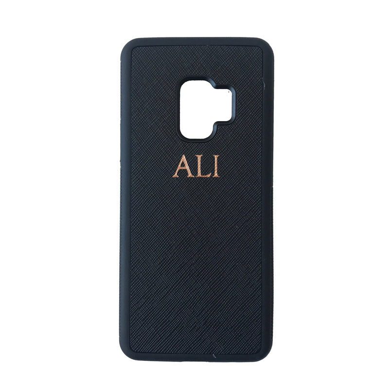 Samsung Galaxy S9 Phone Case in Black Saffiano Leather