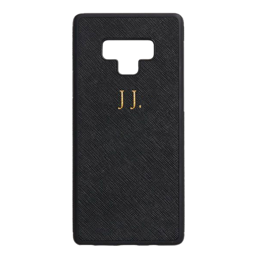 Samsung Note 9 Phone Case in Black Saffiano Leather