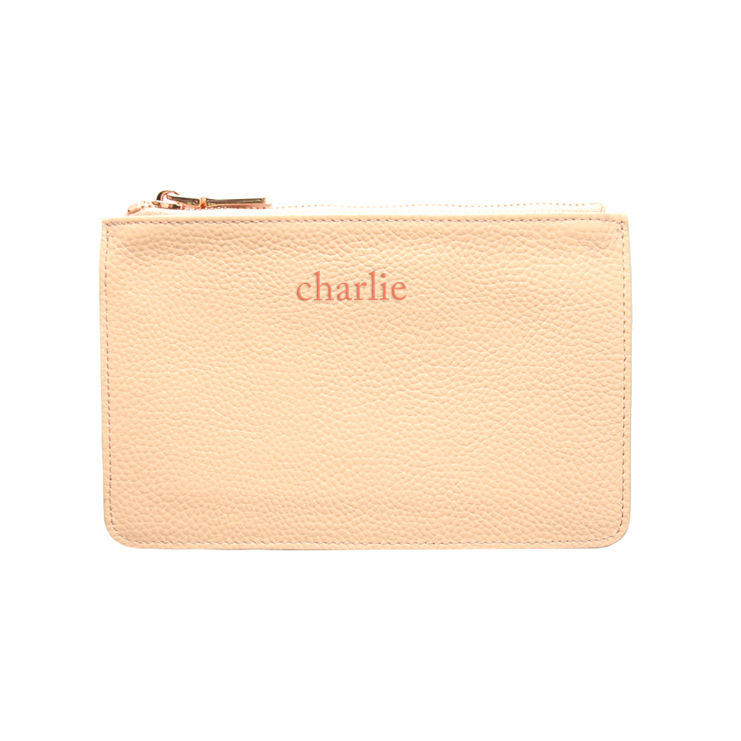 Mon Purse Pebbled Small Pouch in Blush (Rose Gold)