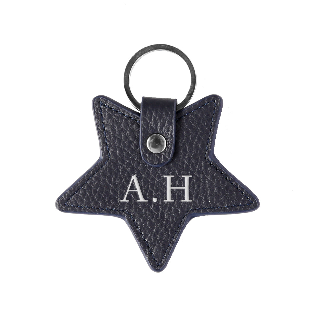 Pebbled Lowkey Star Keyring in Navy (Silver)