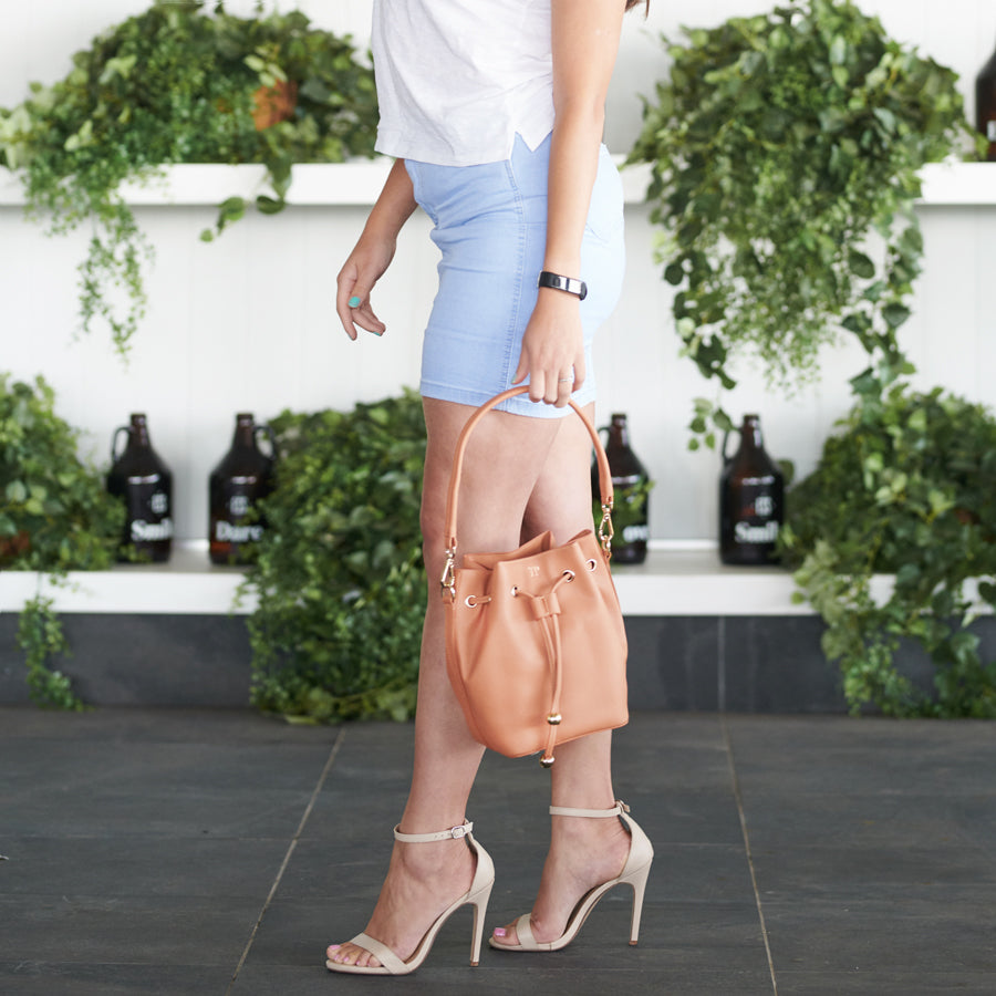 Bucket Bag Mini in Tan Vegan Leather