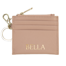 Zipped Cardholder with Keyring in Taupe