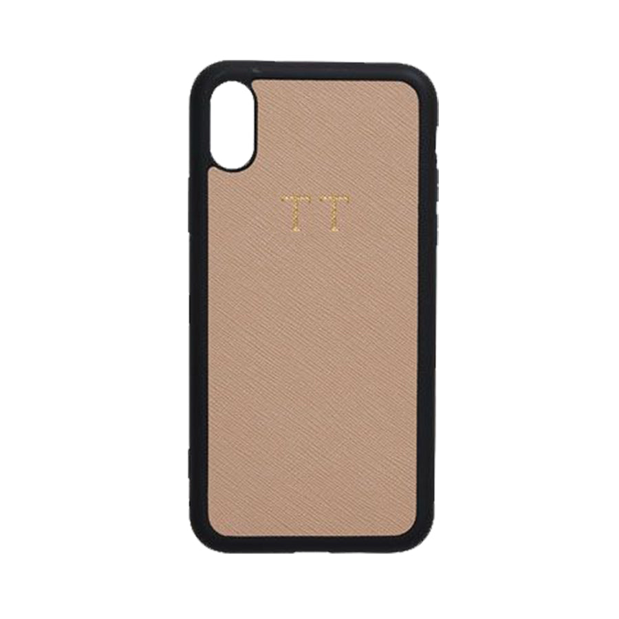 iPhone X Case in Taupe Saffiano Leather