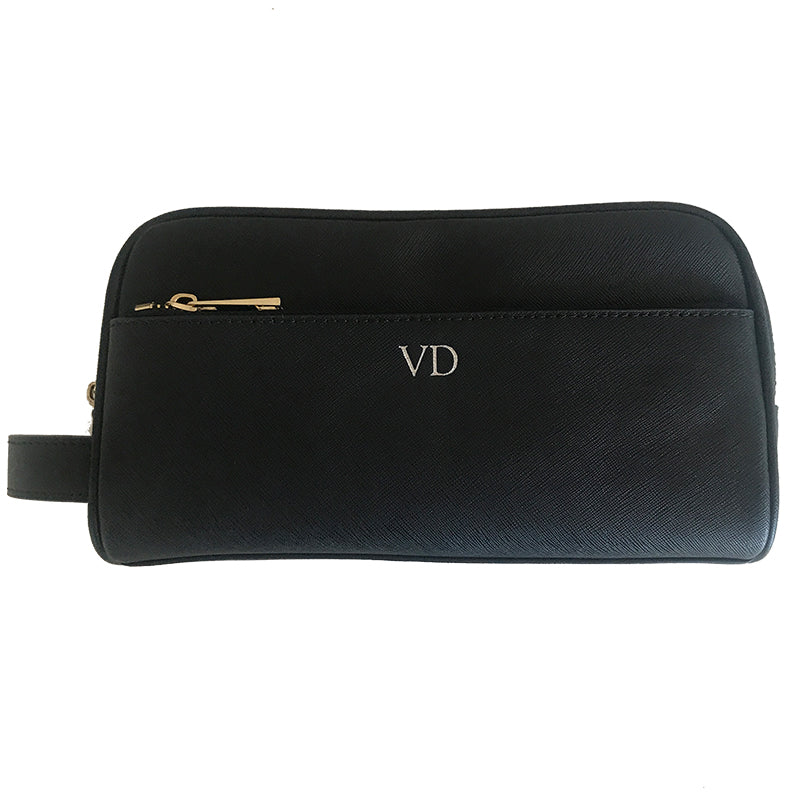 Toiletries Bag in Black Saffiano Leather