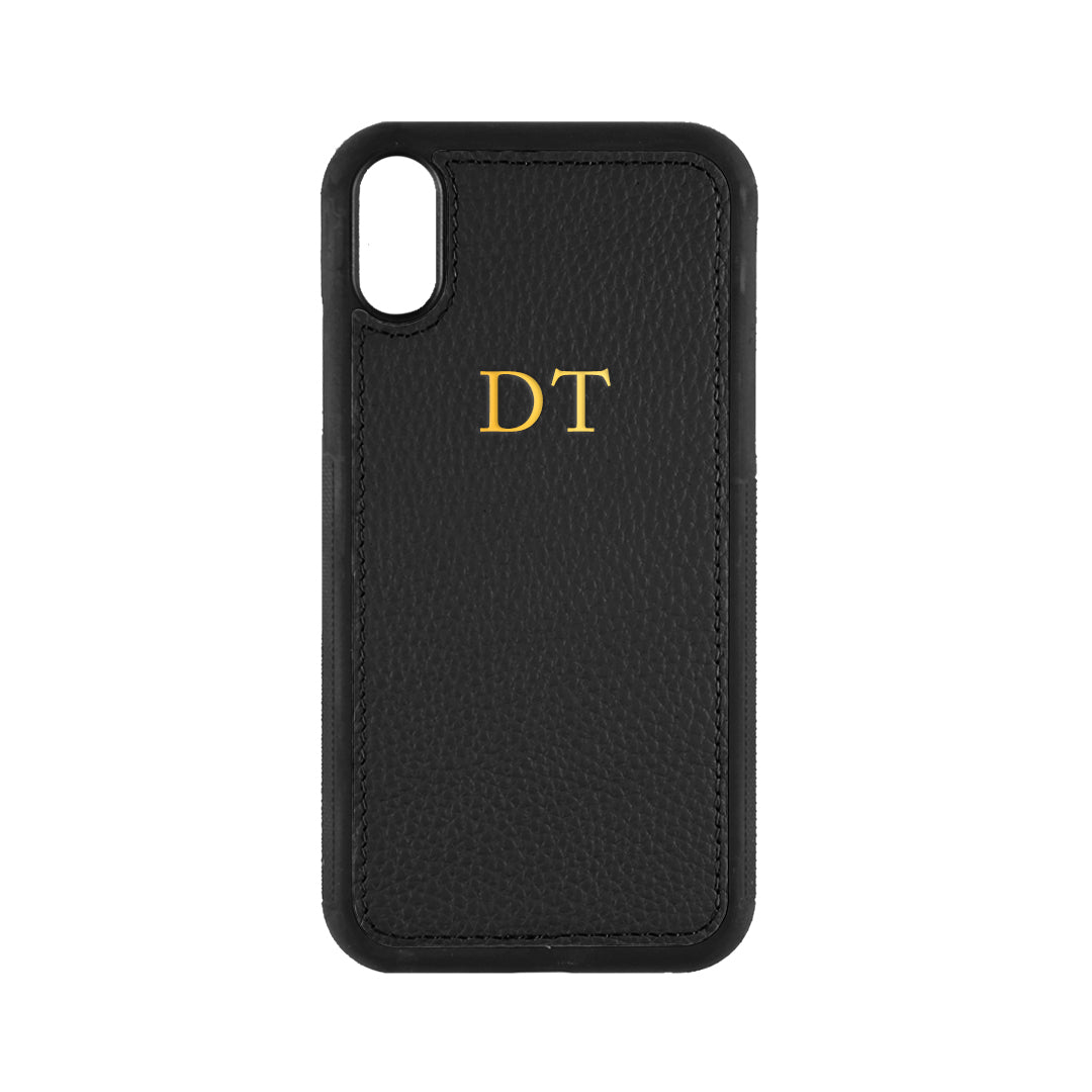 iPhone X/XS Phone Case in Black Pebbled Leather