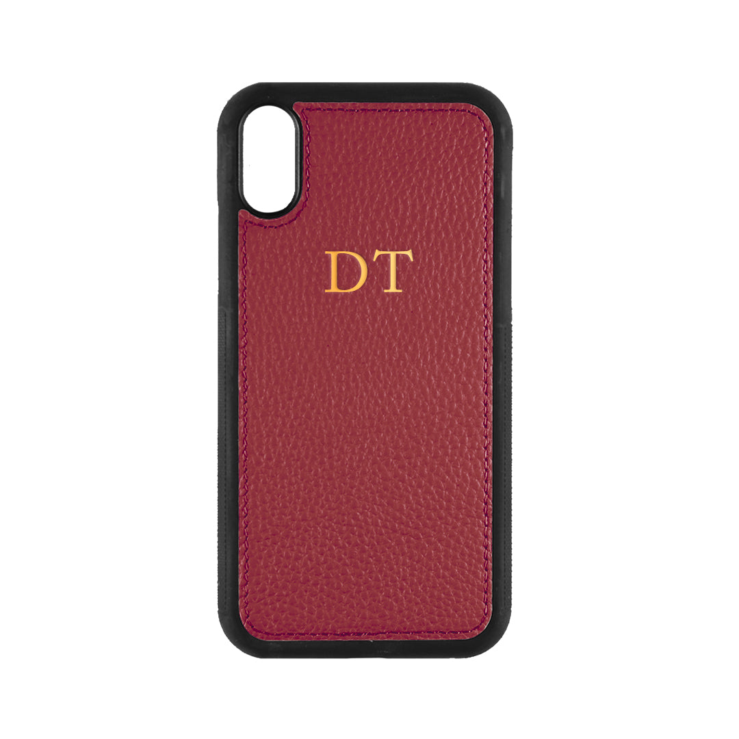 iPhone X/XS Phone Case in Burgundy Pebbled Leather