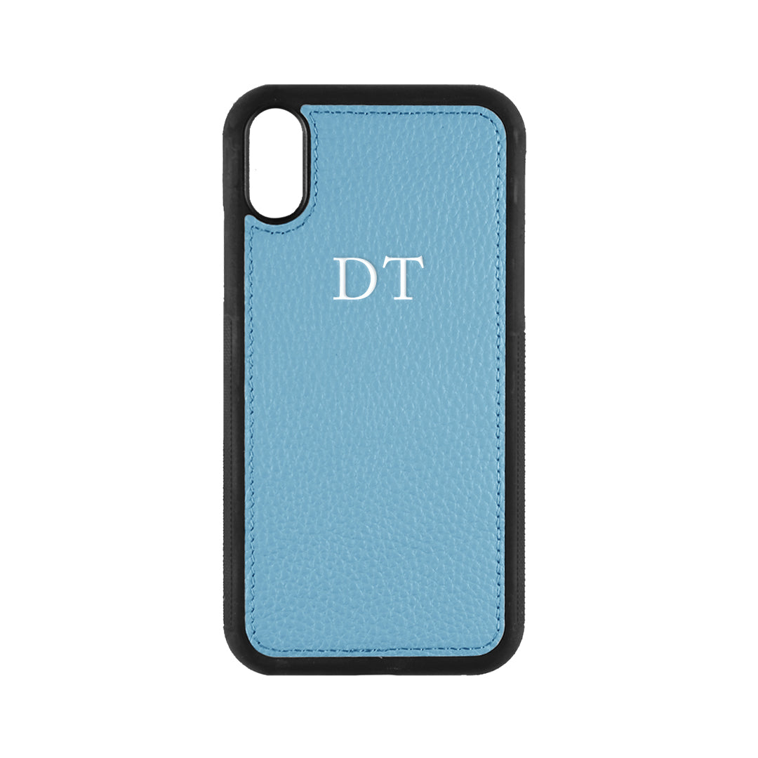iPhone X/XS Phone Case in Denim Pebbled Leather