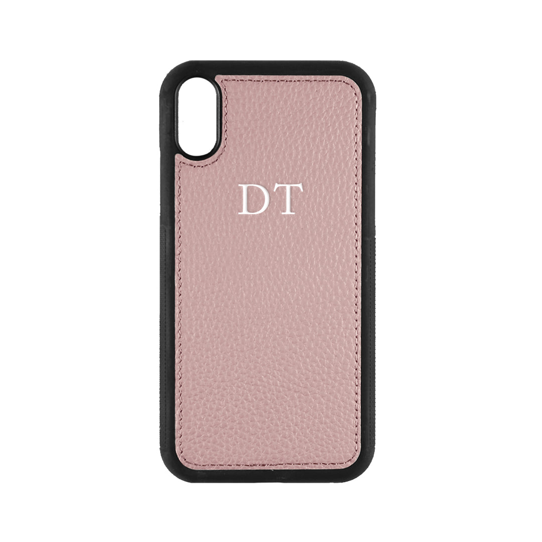 iPhone X/XS Phone Case in Mauve Pebbled Leather