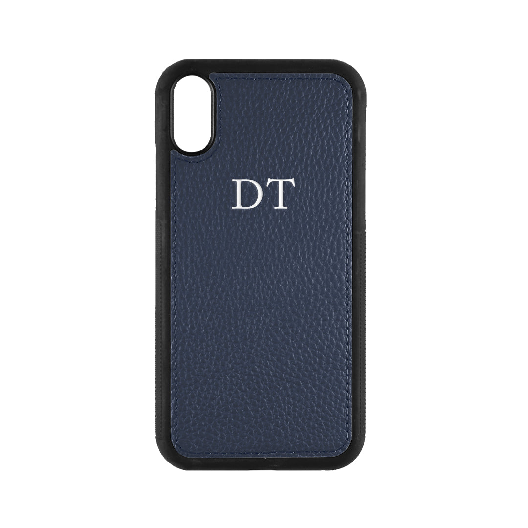 iPhone X/XS Phone Case in Navy Pebbled Leather