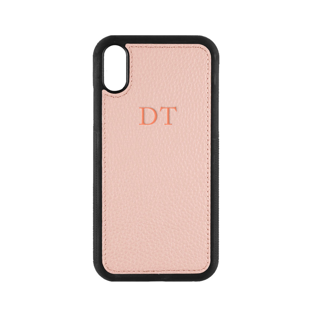 iPhone X/XS Phone Case in Pale Pink Pebbled Leather