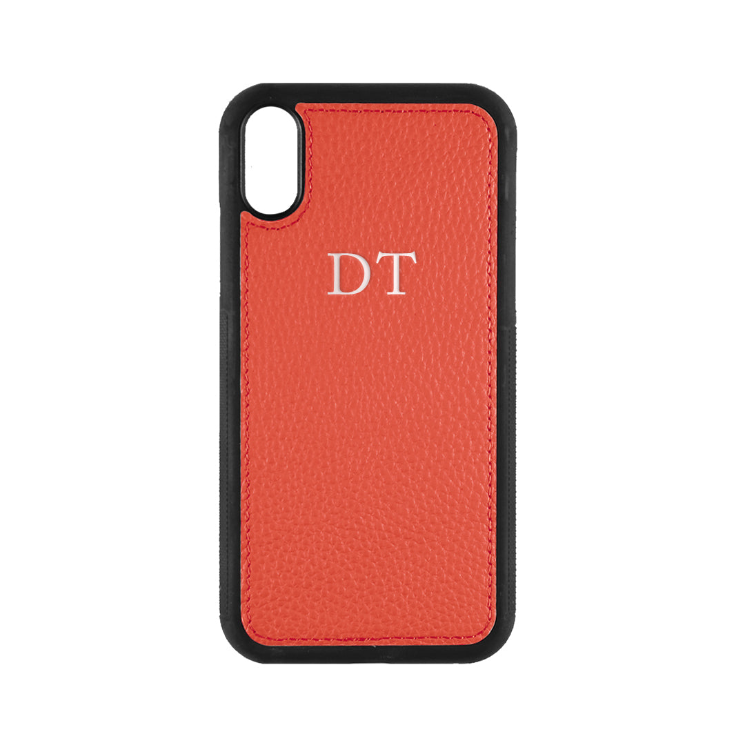 iPhone X/XS Phone Case in Red Pebbled Leather