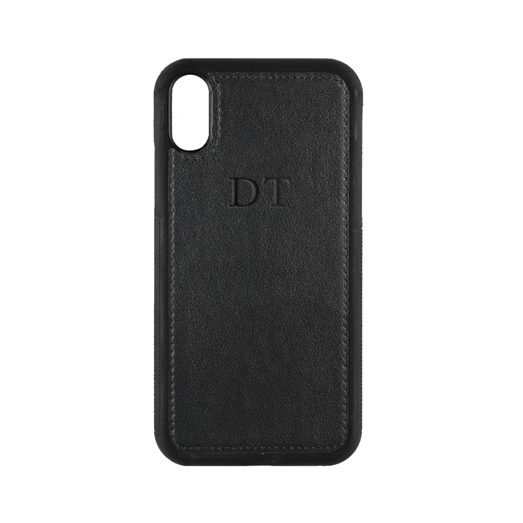 iPhone X/XS Phone Case in Black Smooth Leather