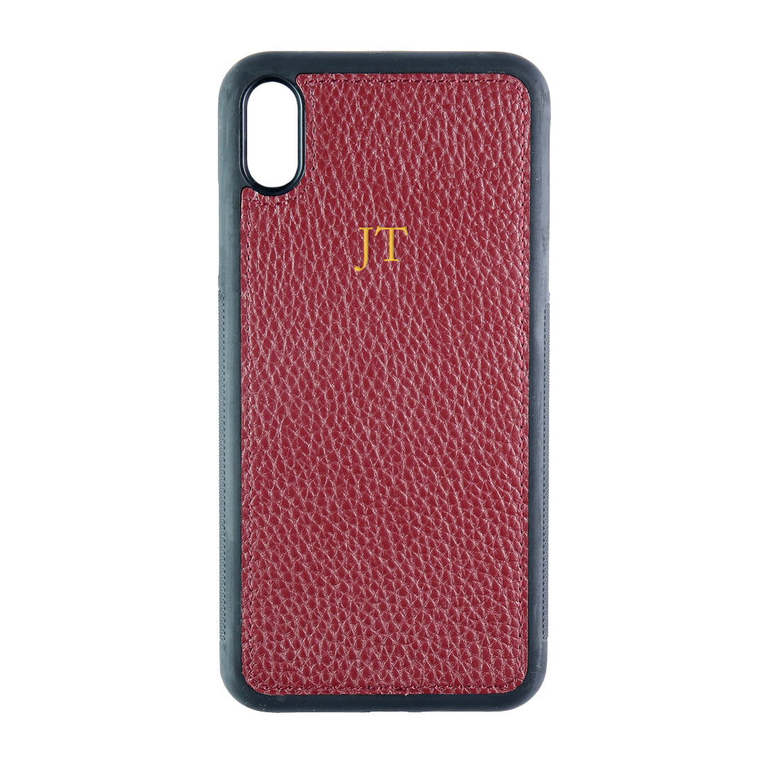 iPhone XS Max Phone Case in Burgundy Pebbled Leather