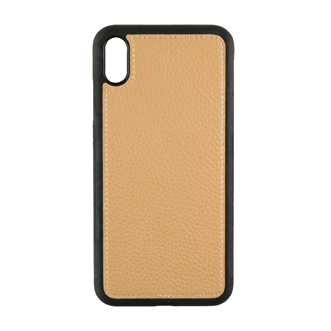 iPhone XS Max Phone Case in Cocoa Pebbled Leather