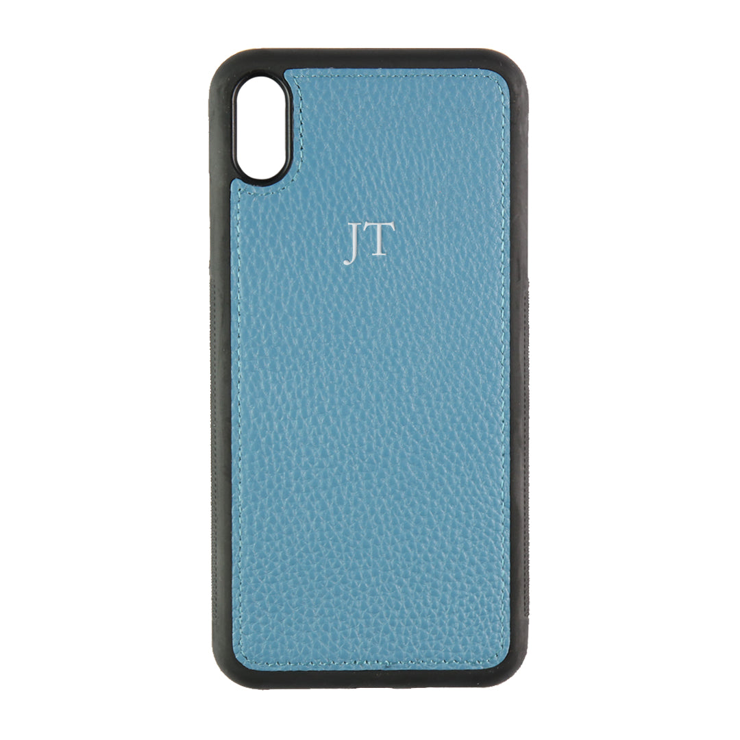 iPhone XS Max Phone Case in Denim Pebbled Leather