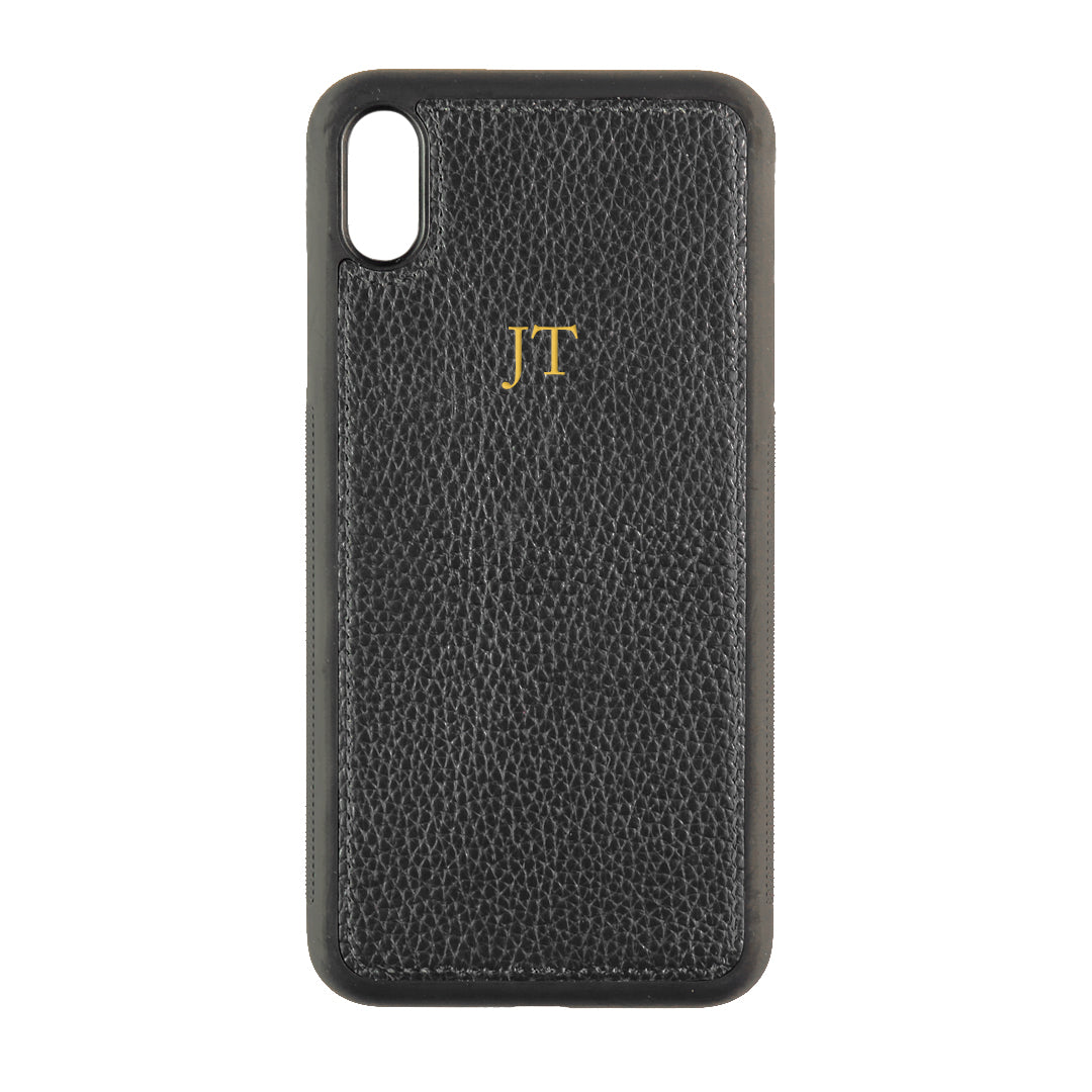 iPhone XS Max Phone Case in Black Pebbled Leather