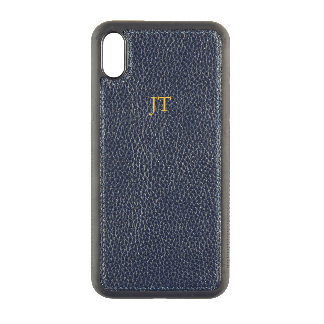iPhone XS Max Phone Case in Navy Pebbled Leather