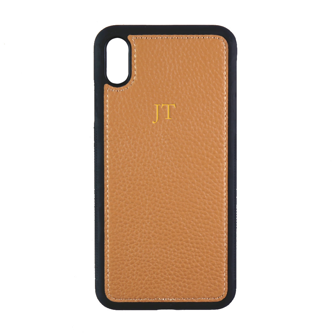 iPhone XS Max Phone Case in Tan Pebbled Leather