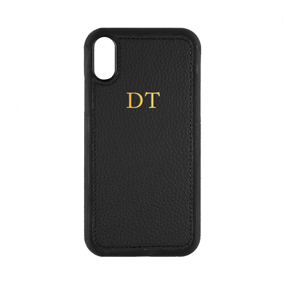 iPhone XR Phone Case in Black Pebbled Leather