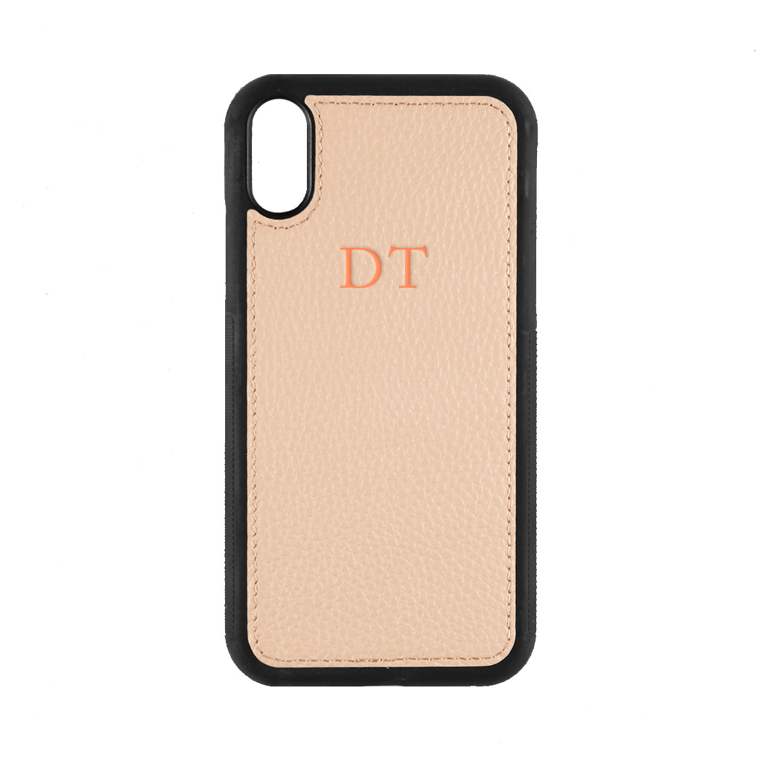 iPhone XR Phone Case in Blush Pebbled Leather