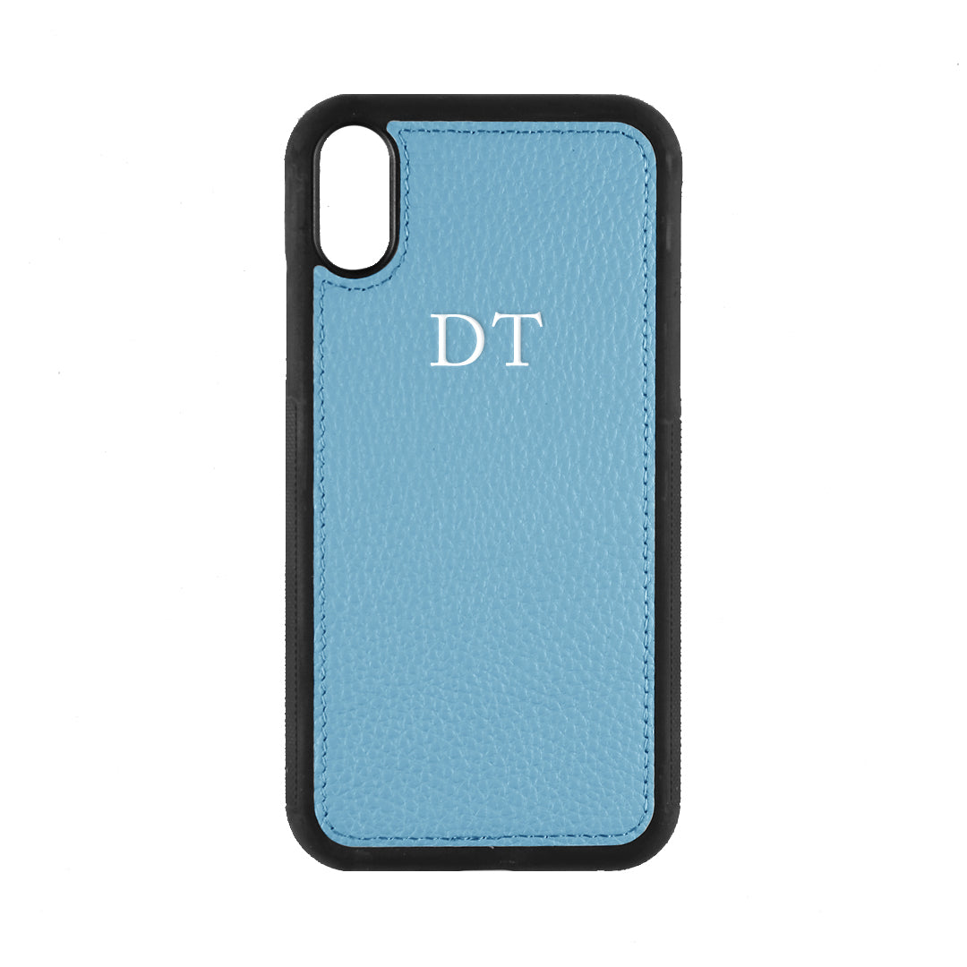 iPhone XR Phone Case in Denim Pebbled Leather