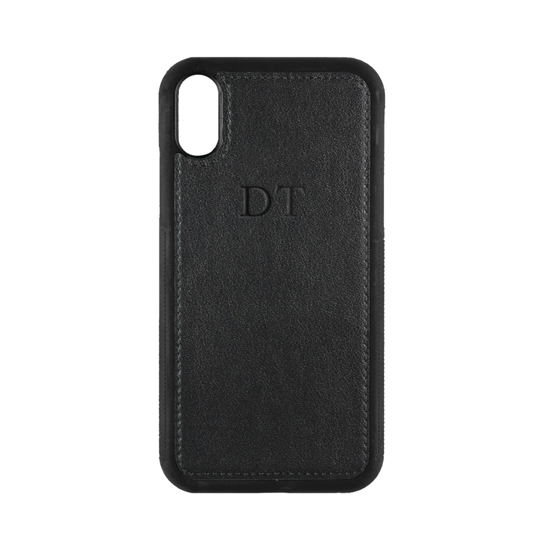 iPhone XR Phone Case in Black Smooth Leather