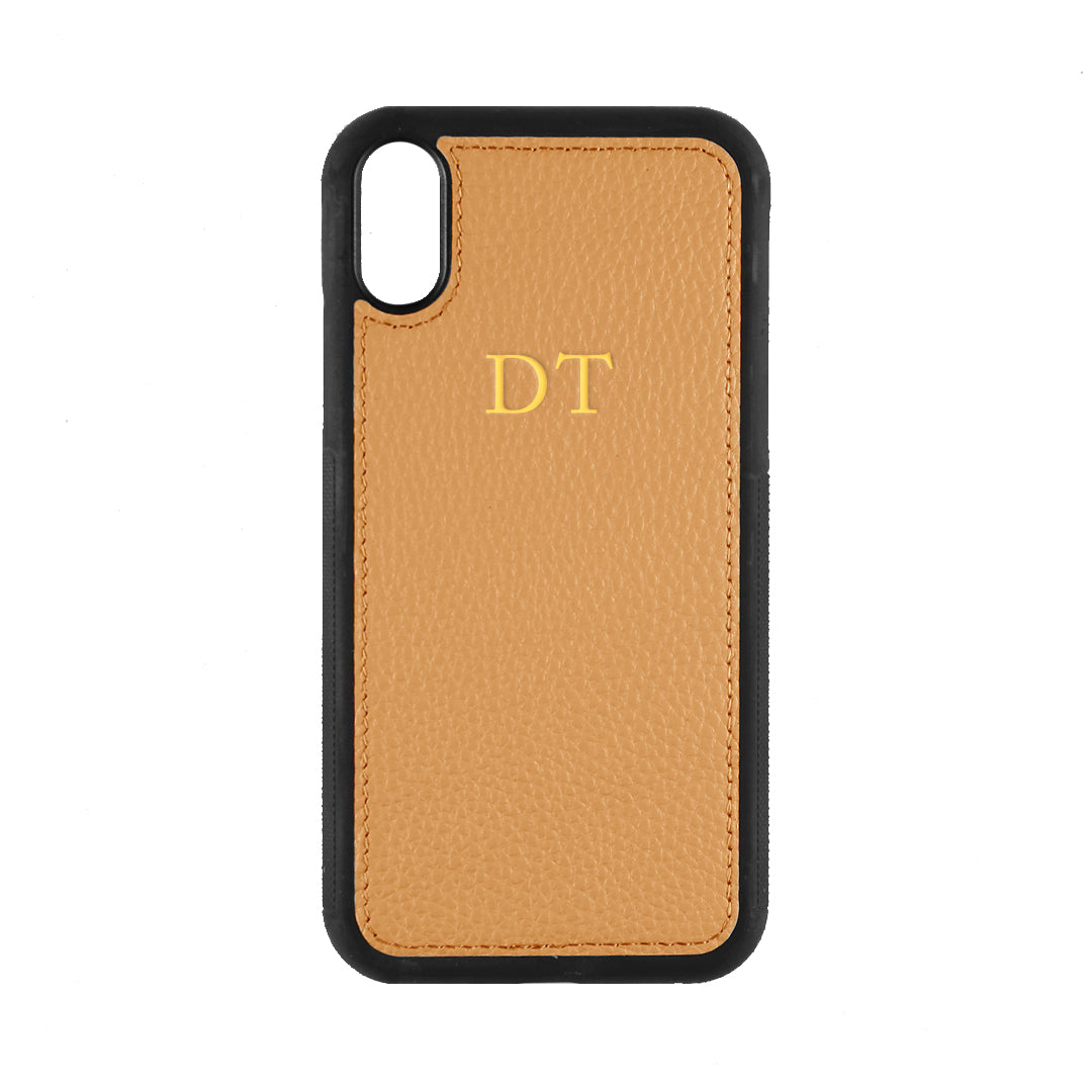 iPhone XR Phone Case in Tan Pebbled Leather