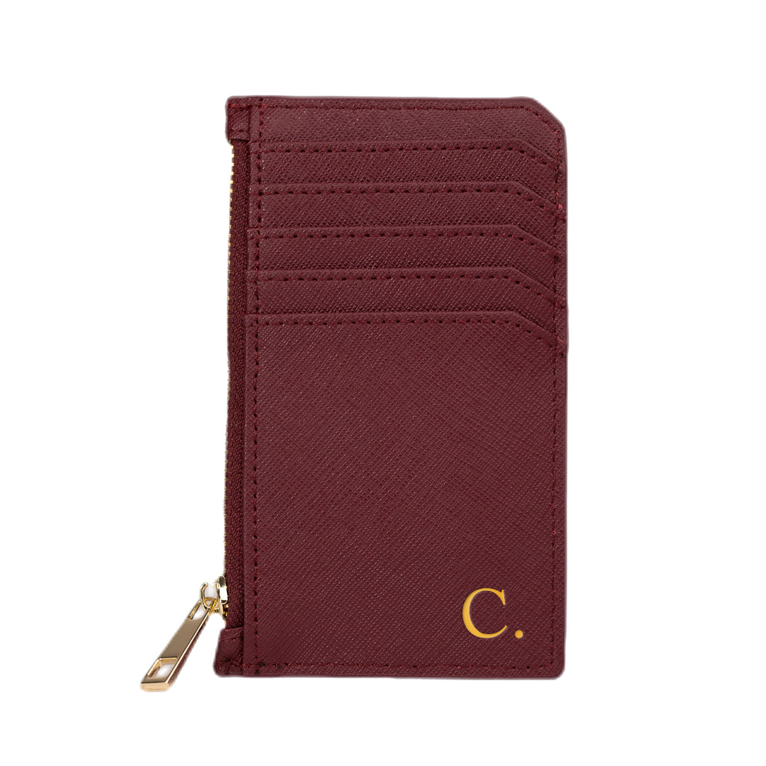 Cardholder with Zip in Burgundy Saffiano Leather