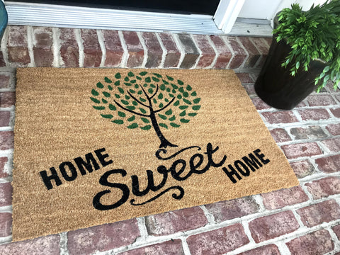 New Natural Coir Non Slip Tree Home Sweet Home Floor Entrance Door Mat+ FREE Rubber Mat ($20 Value)